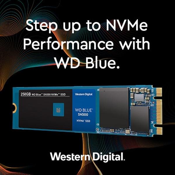 WD Blue SN500 NVMe SSD: доступные накопители ёмкостью 250 и 500 Гбайт